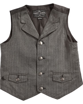 Cody James Boys' Big Canyon Herringbone Vest, Grey, hi-res