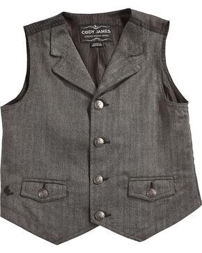 Cody James Boys' Big Canyon Herringbone Vest, Grey, hi-res