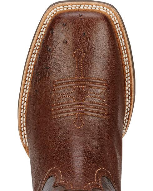 Ariat Men's Tombstone Smooth Ostrich Western Boots, Dark Brown, hi-res