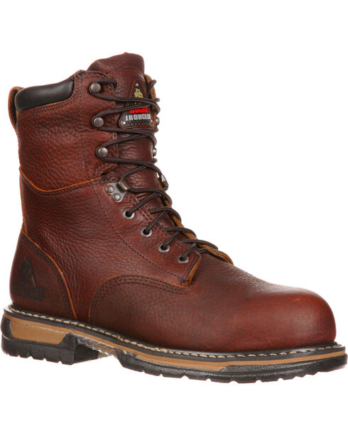 """Rocky Men's IronClad 8"""" Work Boot, Brown, hi-res"""