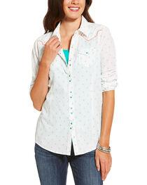 Ariat Women's White Grand Snap Shirt , , hi-res