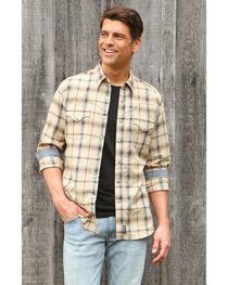 Wrangler Retro Men's Khaki/Blue Plaid Premium Long Sleeve Snap Shirt, , hi-res