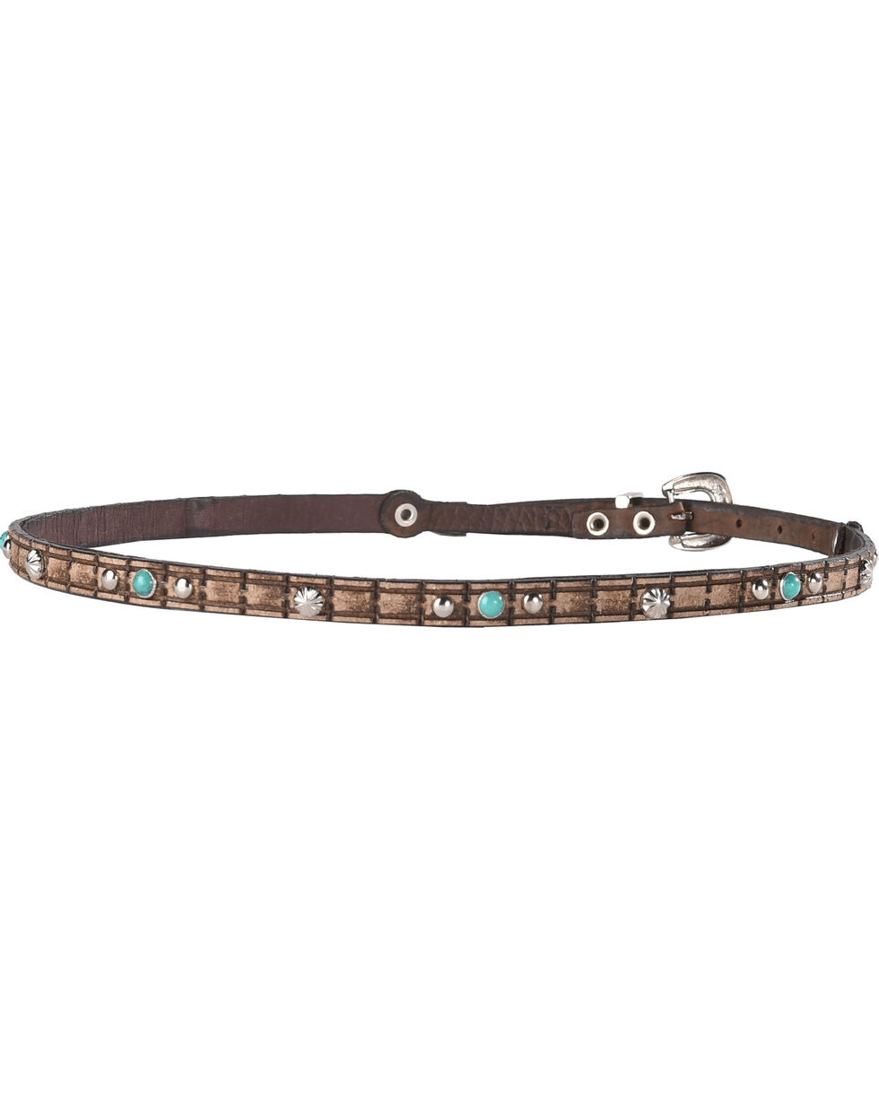 Phunky Horse Studded Leather Hat Band , Lt Brown, hi-res