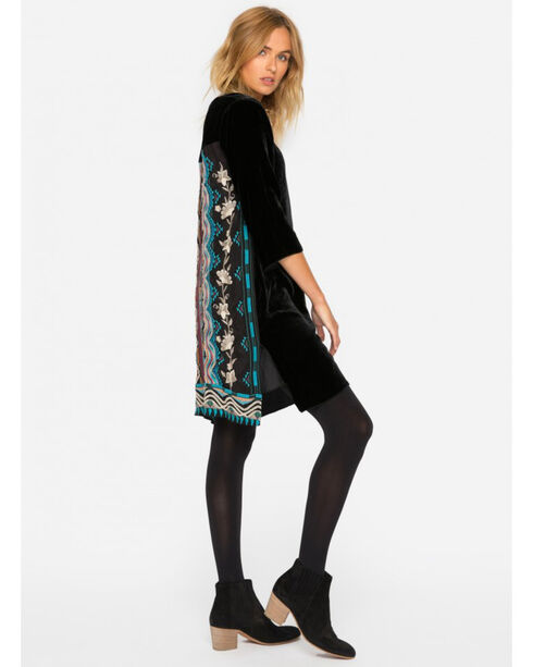 Johnny Was Women's Black Yucatan Embroidered Back Velvet Tunic , Black, hi-res