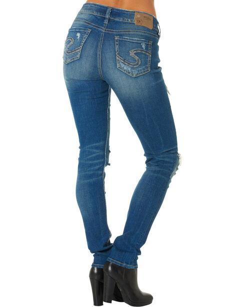 Silver Women's Suki Rip Torn Mid Skinny Jeans , Denim, hi-res
