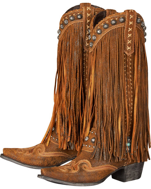 Lane Women's Double D Ranch Prescott Fringed Western Boots, Chili, hi-res