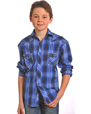 Rock & Roll Cowboy Boys' Long Sleeve Plaid Snap Shirt , Navy, hi-res