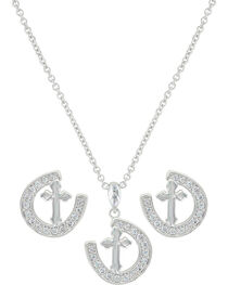 Montana Silversmiths Women's Walking The Path Of Faith Horseshoe Jewelry Set , , hi-res