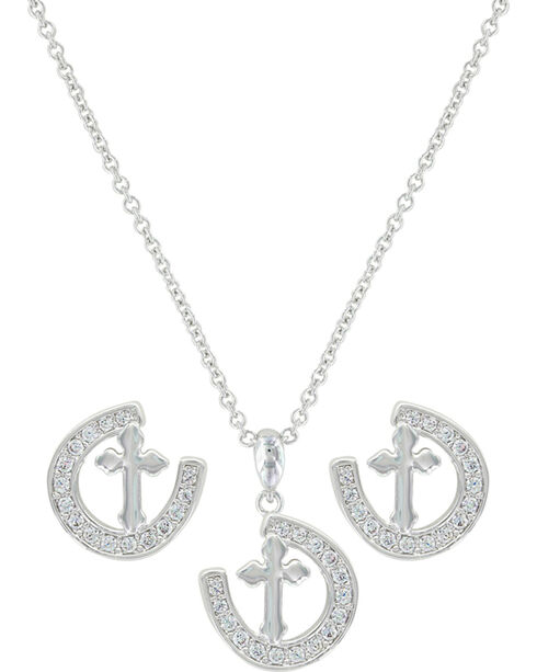 Montana Silversmiths Women's Walking The Path Of Faith Horseshoe Jewelry Set , Silver, hi-res