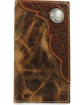 Ariat Men's Distressed Embossed Overlay Wallet, Tan, hi-res