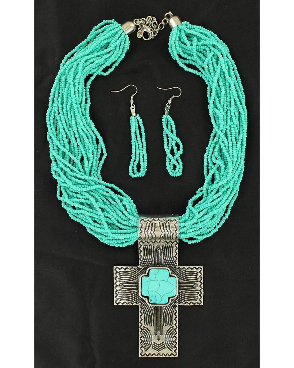 Blazin Roxx Cross Pendant Beaded Necklace & Earrings Set, , hi-res