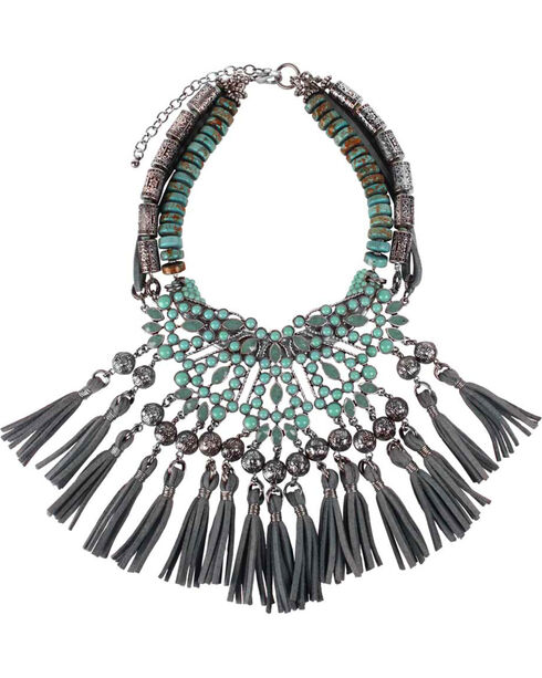 Treska Women's Cowtown Fringed Bib Statement Necklace , Turquoise, hi-res