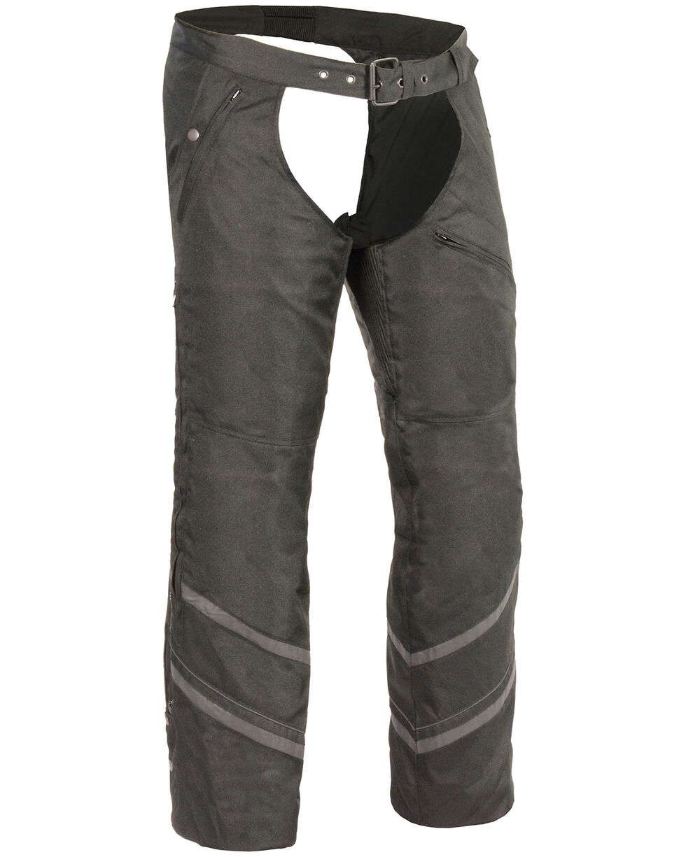 Milwaukee Leather Men's Thermal Lined Vented Textile Chaps - 5X, Black, hi-res
