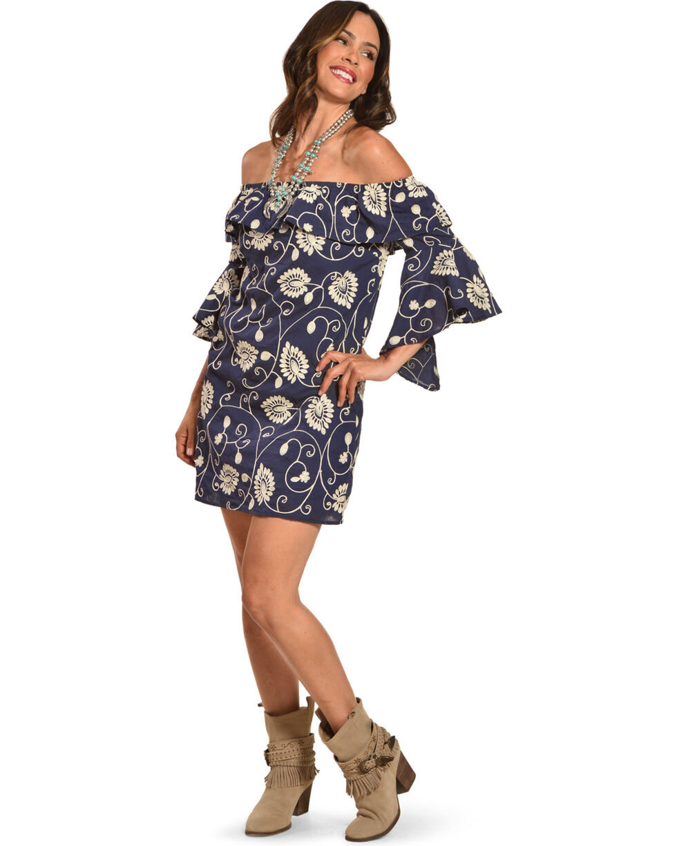 Polagram Women's Floral Ruffled Off-The-Shoulder Dress, Navy, hi-res