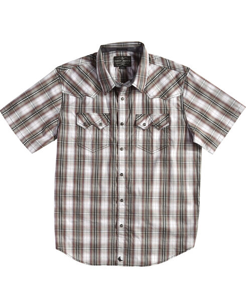 Cody James Men's Plaid Short Sleeve Snap Shirt  - Big & Tall, White, hi-res
