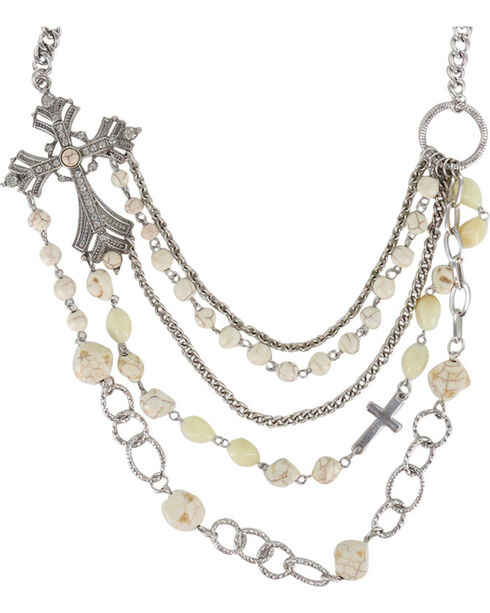 Shyanne® Women's Layered Cross Necklace, Silver, hi-res