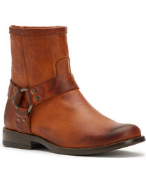 Frye Women's Cognac Phillip Harness Short Boots - Round Toe , , hi-res