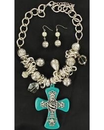 Blazin Roxx Turquoise & Zebra Cross Necklace & Earrings Set, , hi-res