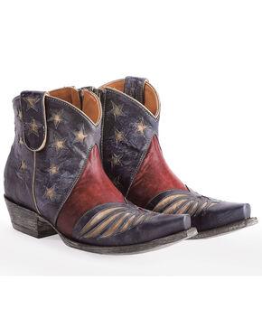 Old Gringo Women's Blue United Patriotic Short Boots - Snip Toe , Blue, hi-res
