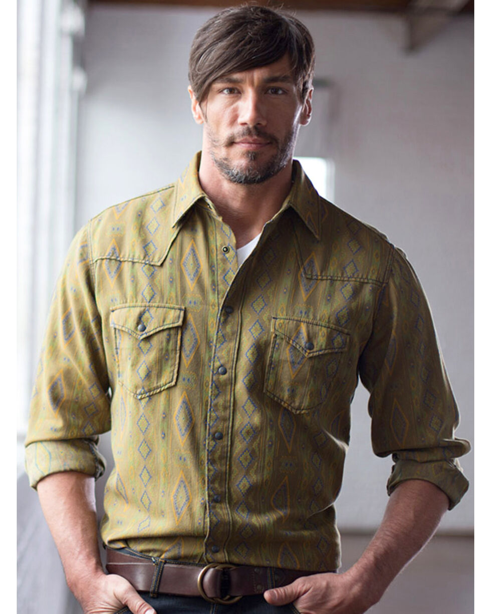 Ryan Michael Men's Olive Mesa Jacquard Shirt , Olive, hi-res