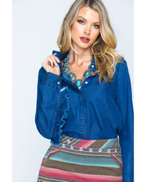 New Direction Women's Ruffle Detail Denim Shirt, , hi-res