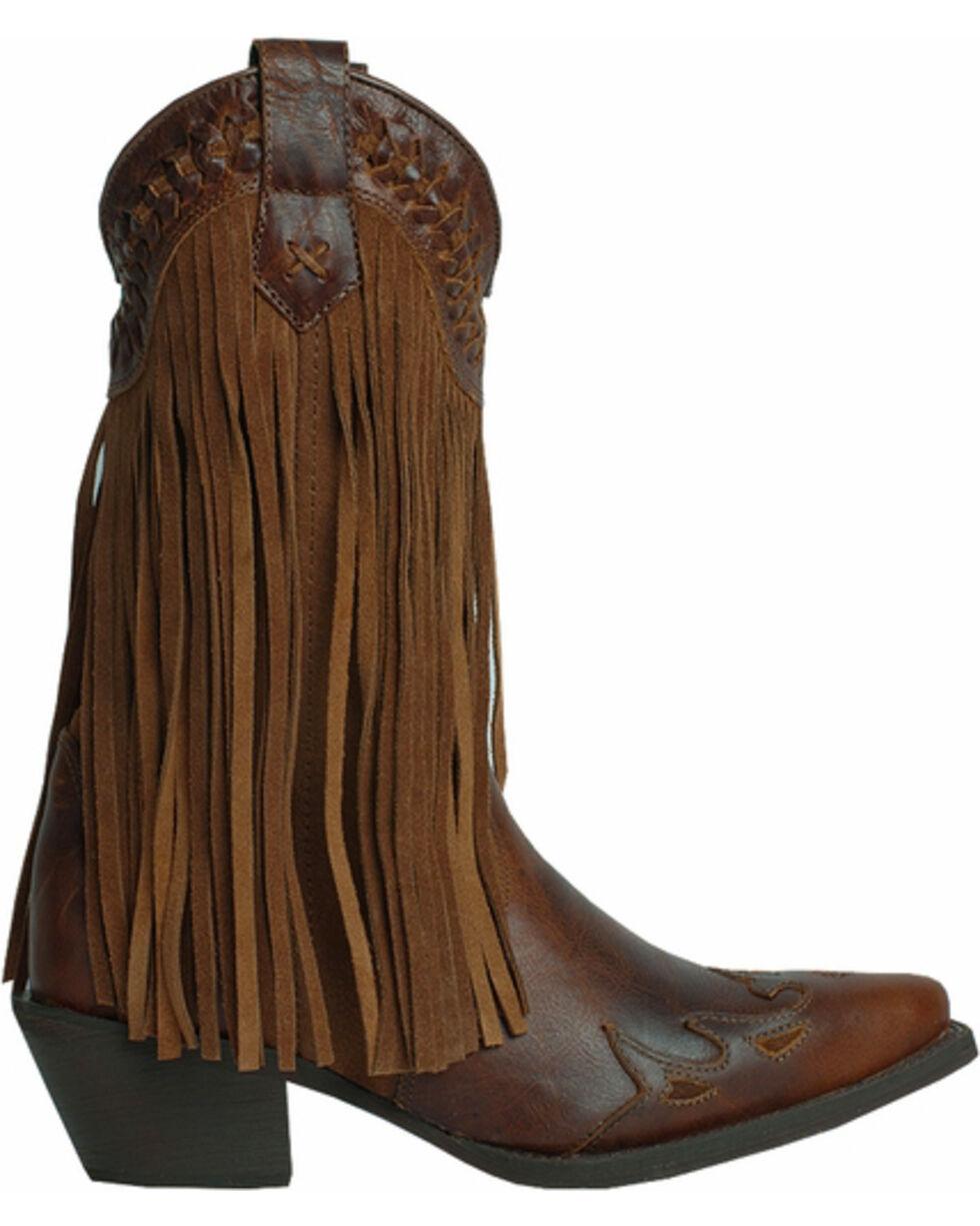 Dingo Women's Heart Throb Fringe Fashion Boots, Dark Brown, hi-res