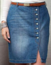 Ryan Michael Women's Button-Front Denim Skirt, , hi-res