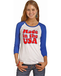 Rock & Roll Cowgirl Women's Blue Made In The USA Baseball Tee , , hi-res