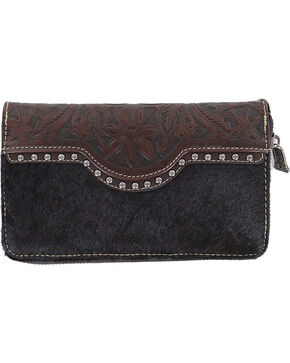 Trinity Ranch Women's Coffee Floral Tooled Wallet , Taupe, hi-res