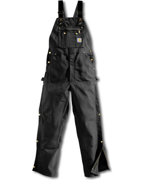 Carhartt Men's Duck Zip-To-Thigh Bib Overalls, Black, hi-res