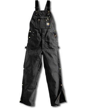 Carhartt Men's Duck Zip-To-Thigh Bib Overalls, Black, hi-res