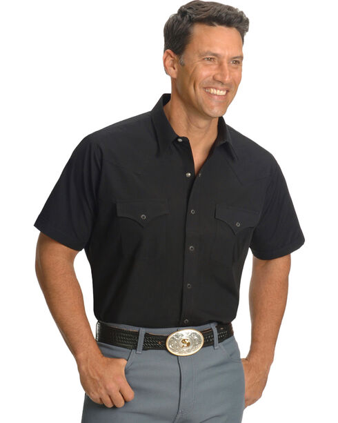 Ely Cattleman Men's Short Sleeve Solid Western Shirt - Big and Tall , Black, hi-res