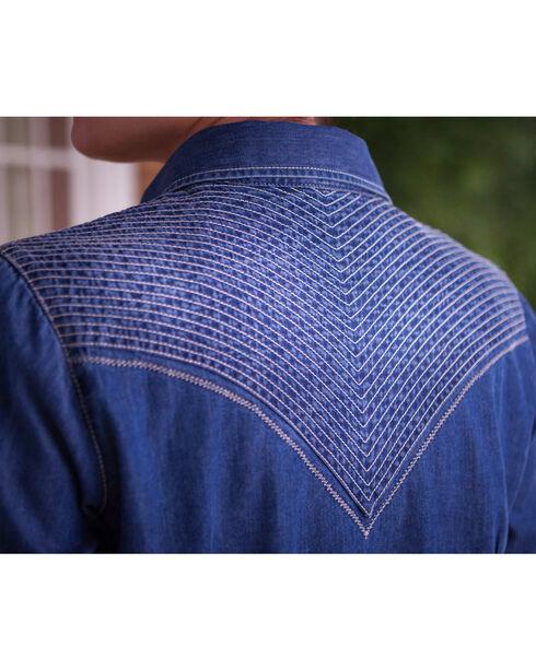 Ryan Michael Women's Quilted Yokes Denim Shirt, Indigo, hi-res