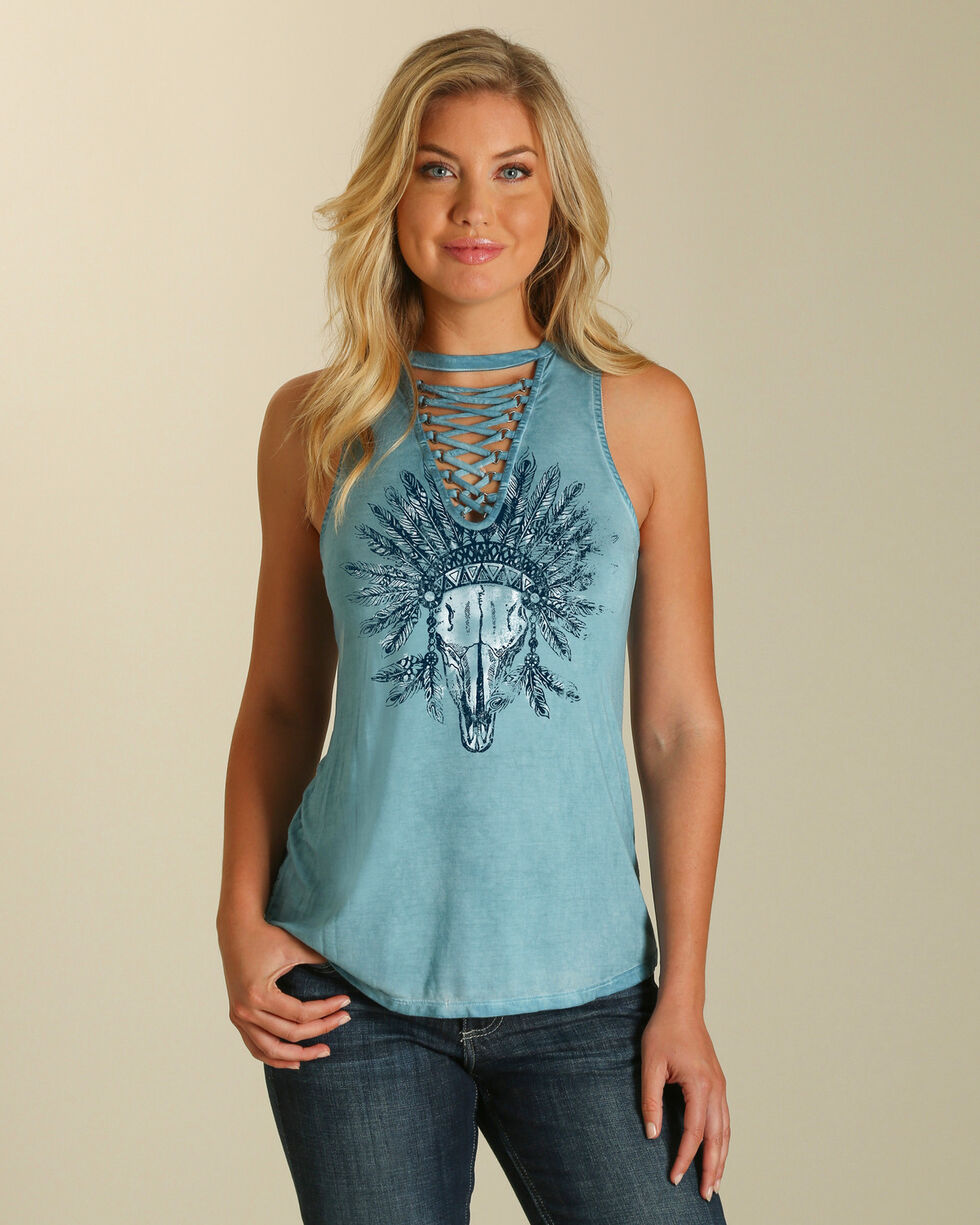 Wrangler Women's Steer Head Lace-Up Top , Blue, hi-res