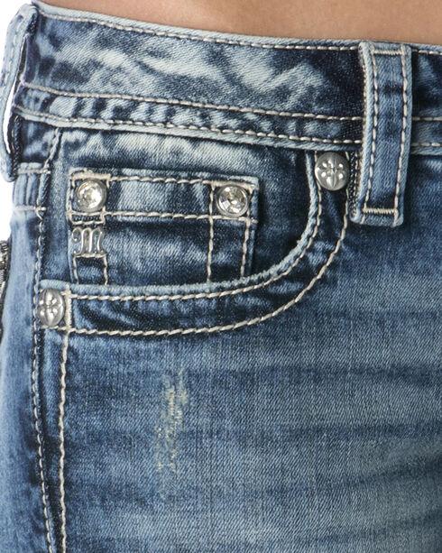 Miss Me Embroidered Pocket Frayed Cuff Skinny Jeans , Indigo, hi-res