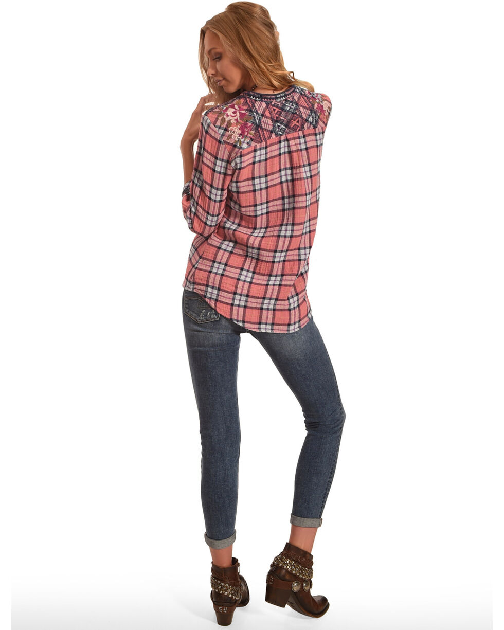 Johnny Was Women's Pascal V-Neck Button Down Shirt, Multi, hi-res