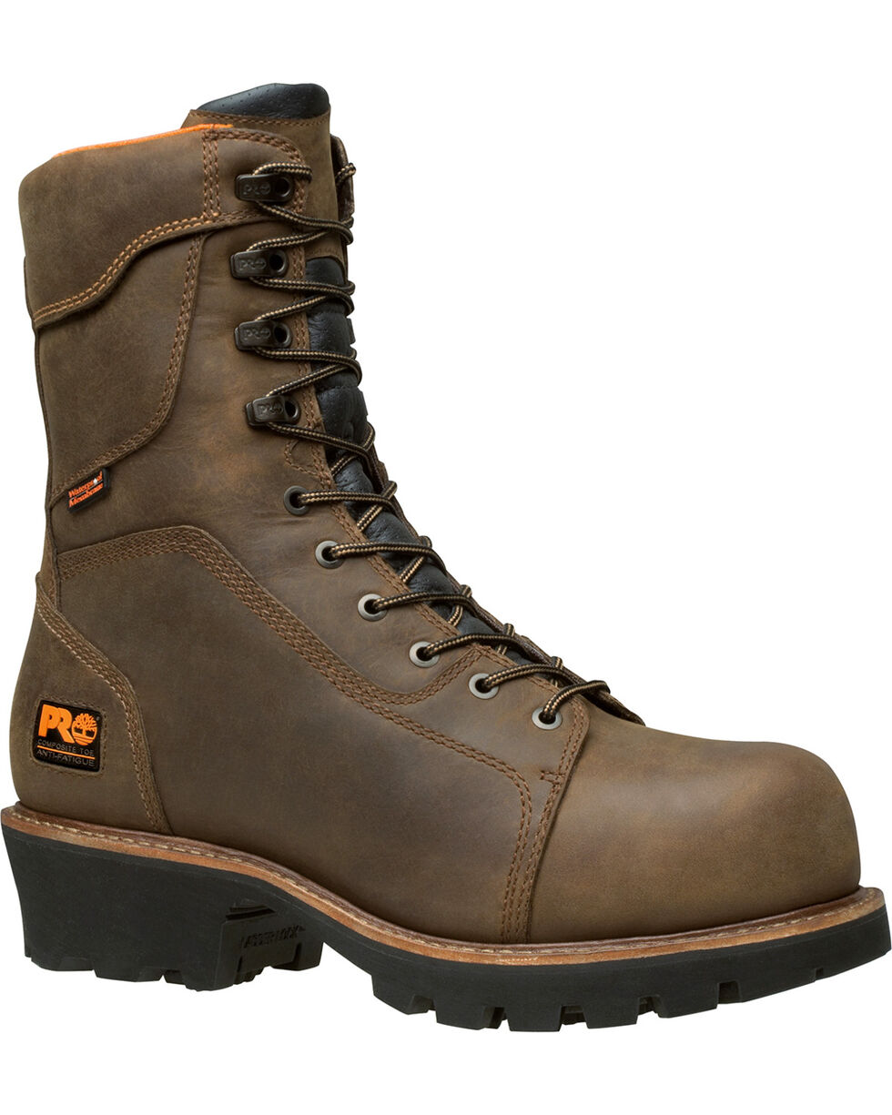 "Timberland Pro Men's 9"" Rip Saw Comp Toe Ins WP Logger Boots, Brown, hi-res"