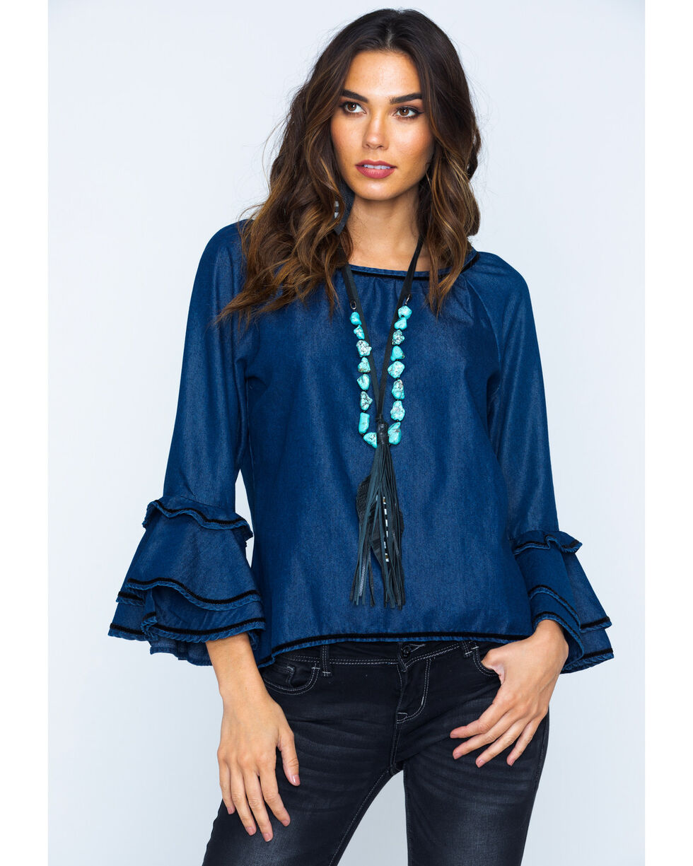 New Direction Women's Ruffle Sleeve Denim Top, Indigo, hi-res