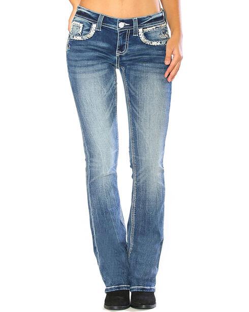 Grace in LA Women's Blue Embellished Flap Pocket Jeans - Boot Cut , , hi-res