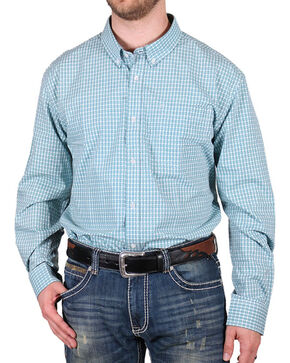 Cody James® Men's Plaid Check Long Sleeve Shirt, Turquoise, hi-res