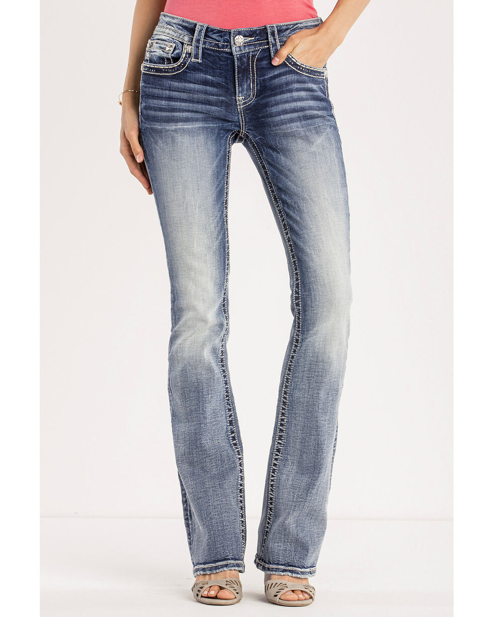 Miss Me Women's Saddle Up Mid-Rise Boot Cut Jeans, Indigo, hi-res