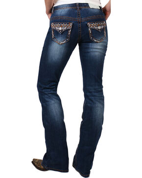 Shyanne® Women's Bronze Stitched Boot Cut Jeans, Blue, hi-res