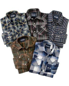 Wrangler Boy's Assorted Long Sleeve Plaid Print Western Shirt, Multi, hi-res