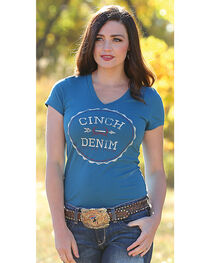 Cinch Women's Teal Cotton Jersey Tee , , hi-res
