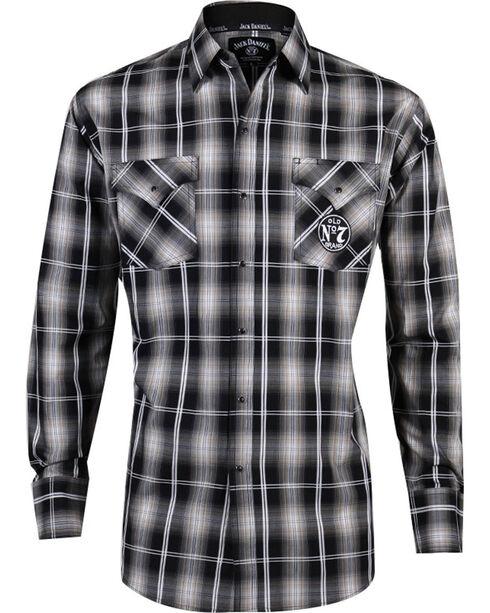 Ely Cattleman Men's Jack Daniel's Old No. 7 Brand Long Sleeve Western Shirt, Black, hi-res