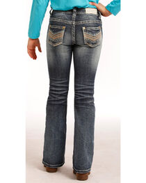 "Rock & Roll Cowgirl Girls' Indigo (7-14) Stitch ""V"" Jeans - Boot Cut  , , hi-res"