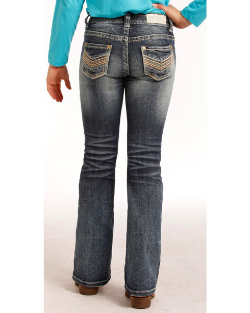 "Rock & Roll Cowgirl Girls' Indigo (7-14) Stitch ""V"" Jeans - Boot Cut  , Indigo, hi-res"