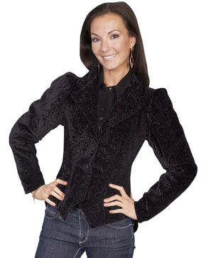 WahMaker by Scully Women's Embossed Velvet Coat, Black, hi-res