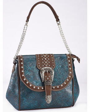 Savana Women's Turquoise Faux Leather Tooled Handbag, Turquoise, hi-res