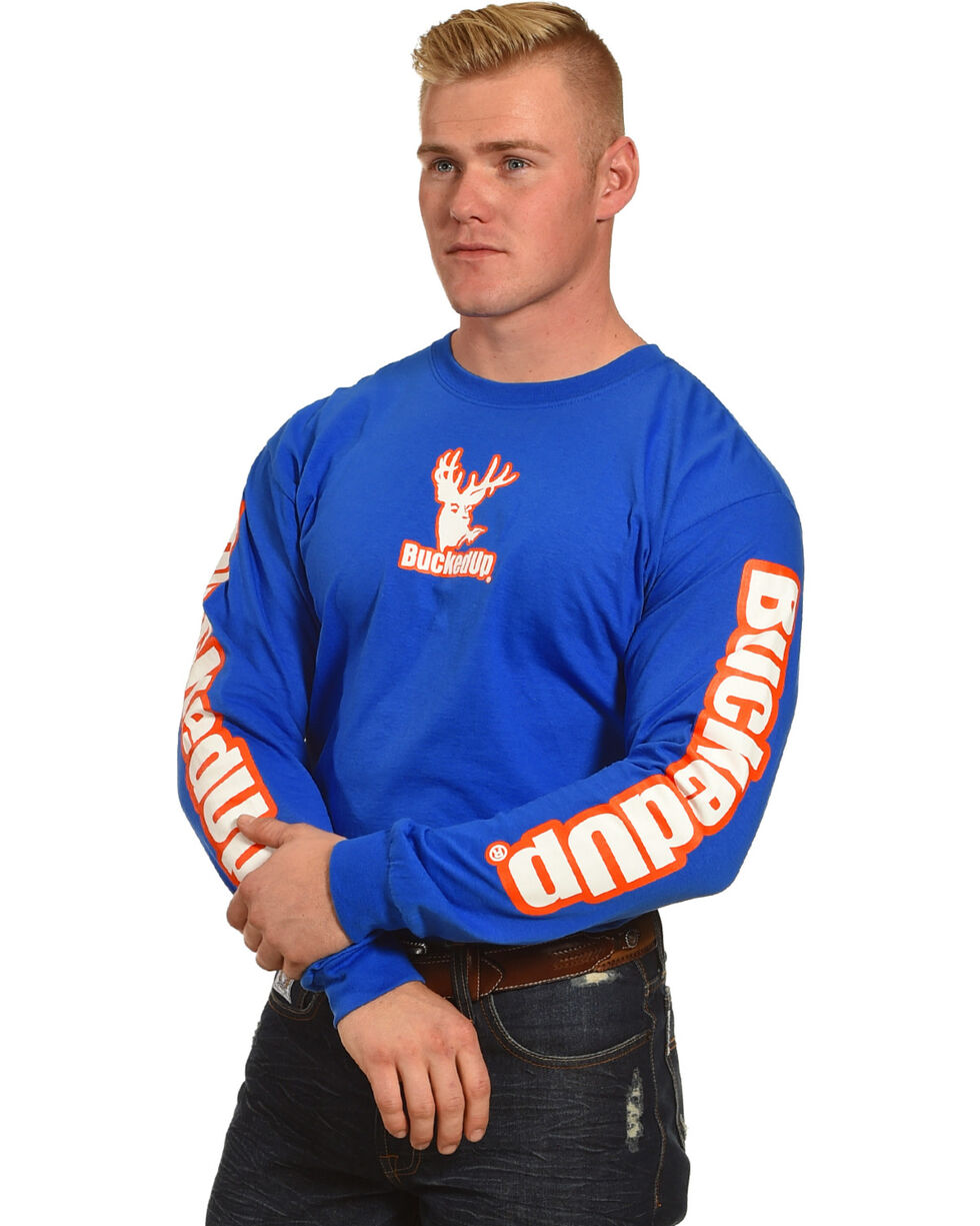 Bucked Up Men's Blue Vibrant Logo Long Sleeve Shirt , Blue, hi-res
